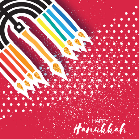 Colorful Happy Hanukkah Greeting card with papercraft elemetnt on red dot background. Jewish holiday with menorah - traditional Candelabra,candles. Vector design illustration Illustration