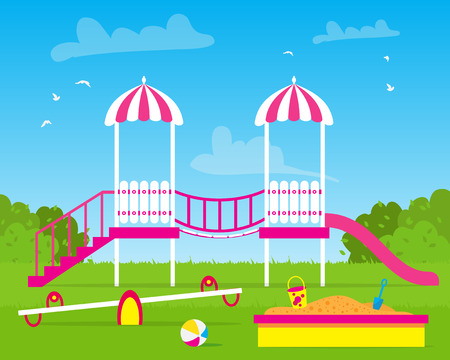 Kids playground. Buildings for city construction. Set of elements to create urban background. Flat style vector illustration.