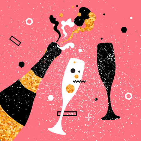 Champagne flutes and bottle with golden glitter elements on pink background. Cheers - Clinking glass silhouette. Cheerful holiday. Alcoholic beverages. Concept party celebration. Vector Illustration.