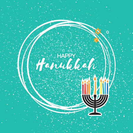 Happy Hanukkah menorah with burning candles and gold Glitter david star on blue texture background. with circle frame for text. Jewish holiday with traditional candelabra. Vector illustration