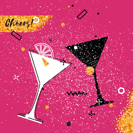 clinking: Martini clinking glasses with Gold Glitter elements on pink background. Cheerful holiday. Alcoholic beverages. Concept party celebration. Vector Illustration. Illustration