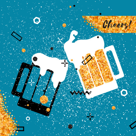 Beer glass. Clinking mug silhouette. Oktoberfest. Cheerful holiday. Alcoholic beverages. Concept party celebration. Pub alcohol with gold glitter elements on pink background. Vector Illustration. Çizim