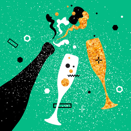 clinking: Champagne flutes and bottle with golden glitter elements on pink background. Cheers - Clinking glass silhouette. Cheerful holiday. Alcoholic beverages. Concept party celebration. Vector Illustration.