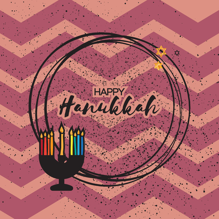 hanukka: Happy Hanukkah menorah with burning candles and gold Glitter david star on pink zigzag texture background with circle frame for text. Jewish holiday with traditional candelabra. Vector illustration Illustration