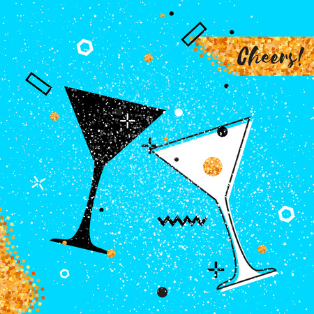 Martini clinking glasses with Gold Glitter elements on blue background. Cheerful holiday. Alcoholic beverages. Concept party celebration. Vector Illustration.
