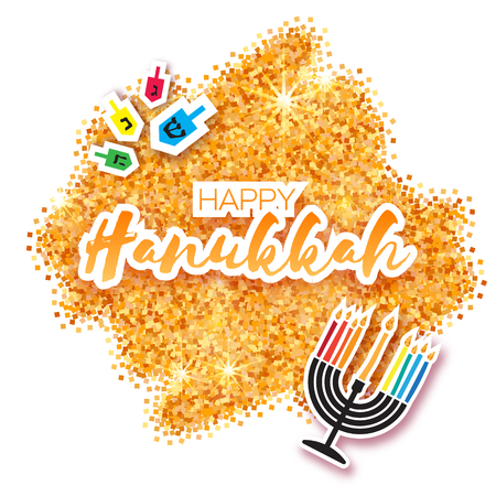 talmud: Colorful Origami Happy Hanukkah Greeting card on white background with space for text. Jewish holiday with menorah - traditional Candelabra,candles and dreidels - spinning top. Vector illustration Illustration