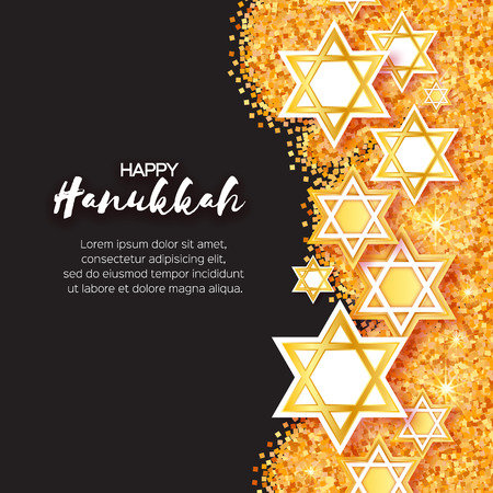 Magen David stars. Papercraft jewish holiday simbol on gold glitter background. Vector design illustration Illustration