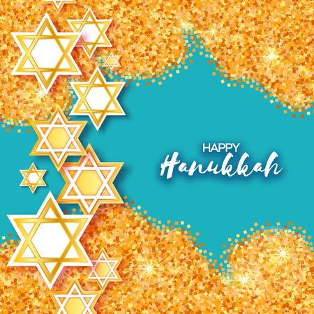 Magen David stars. Papercraft jewish holiday simbol on gold glitter background. Vector design illustration Illustration