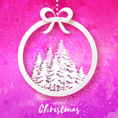 cold cut: White Origami Merry Christmas Greeting card with Cutout Paper Gift box, Xmas Tree and landscape on pink polygonal background. 2017 New Year holiday. Circle Frame for text. Vector seasonal illustration Illustration