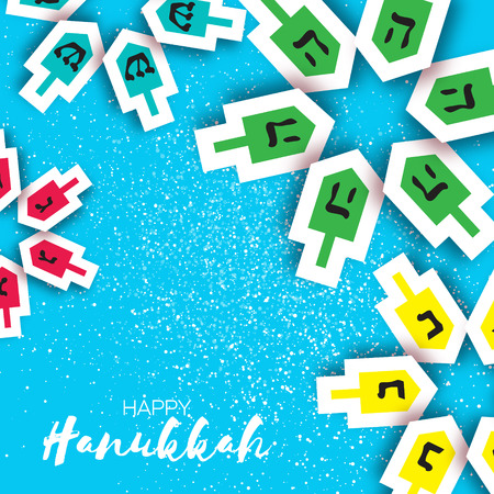 hanukka: Happy hanukkah with dreidels - spinning top. Jewish holiday on blue background. Vector Illustration.