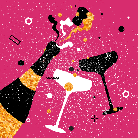 Champagne flutes - vintage couple and bottle with golden glitter elements on pink background. Cheers - Clinking glass silhouette. Cheerful holiday. Alcoholic beverages. Concept party celebration. Illustration