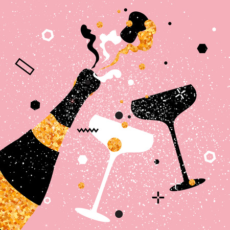 Champagne flute - vintage couple and bottle with golden glitter elements on pink background. Cheers - Clinking glass silhouette. Cheerful holiday. Alcoholic beverages. Concept party celebration. Vettoriali