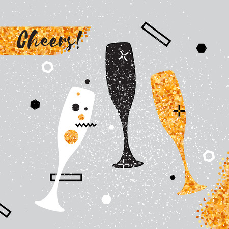 Champagne flutes with golden glitter elements on pink background. Cheers - Clinking glass silhouette. Cheerful holiday. Alcoholic beverages. Concept party celebration. Vector Illustration.