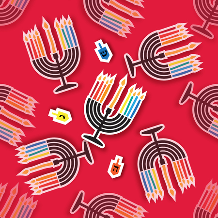 chanukiah: Happy Hanukkah seamless pattern. Repeat Menorah with burning candles and dreidels - spinning top on red texture background. Jewish holiday with traditional candelabra. Vector illustration