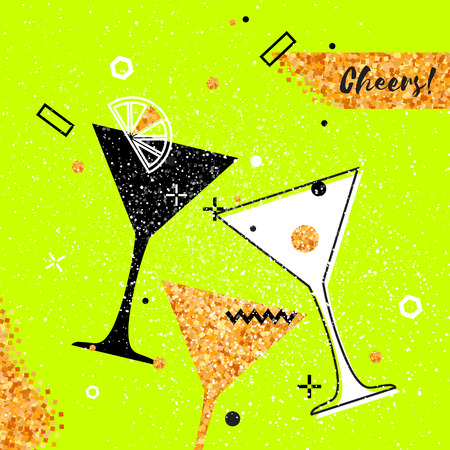 clinking: Martini clinking glasses with Gold Glitter elements on neon green background. Cheerful holiday. Alcoholic beverages. Concept party celebration. Vector Illustration. Illustration