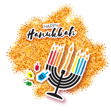 Colorful Origami Happy Hanukkah Greeting card on white background with space for text. Jewish holiday with menorah - traditional Candelabra,candles and dreidels - spinning top. Vector illustration Illustration