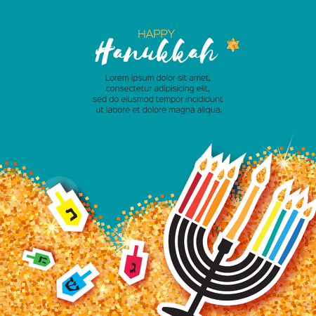 Colorful Origami Happy Hanukkah Greeting card on blue background with space for text. Jewish holiday with menorah - traditional Candelabra,candles and dreidels - spinning top. Vector illustration Illustration