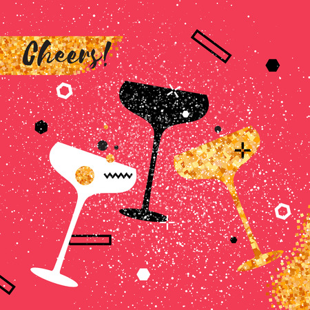 Champagne flutes - vintage couple and bottle with golden glitter elements on red background. Cheers - Clinking glass silhouette. Cheerful holiday. Alcoholic beverages. Concept party celebration.