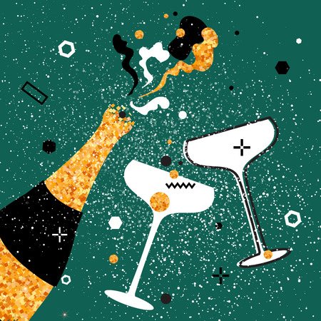 Champagne flutes - vintage couple and bottle with golden glitter elements on green background. Cheers - Clinking glass silhouette. Cheerful holiday. Alcoholic beverages. Concept party celebration. Ilustração Vetorial