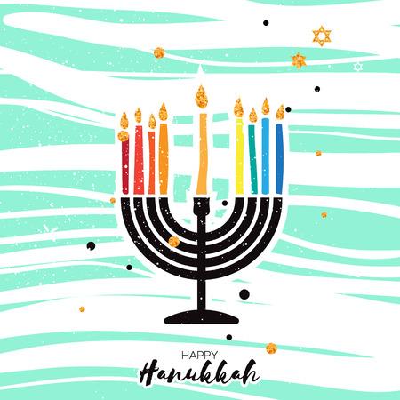 candelabra: Cute Happy Hanukkah Greeting card. Jewish holiday with menorah - traditional Candelabra, candles on blue background. Vector design illustration Illustration