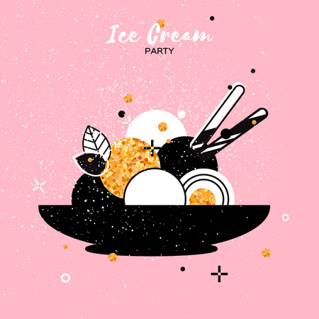 flavor: Sweet Ice Cream with different flavor. Gold Glitter Dessert party time. Six of tasty frozen dessert in a back bowl with wafer straw on pink background. Vector illustration.