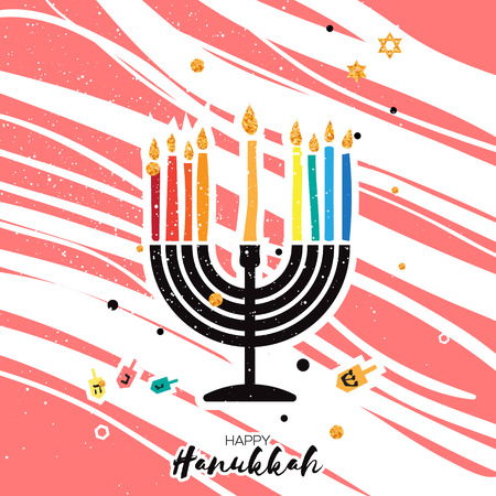 hanukka: Cute Happy Hanukkah Greeting card. Jewish holiday with menorah - traditional Candelabra, candles and dreidels - spinning top. on pink stripes background. Vector design illustration