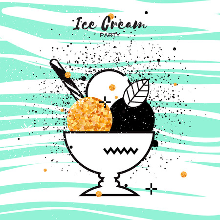Sweet Ice Cream with different flavor. Gold Glitter Dessert party time. Trio of tasty frozen dessert in a white bowl with wafer straw on blue stripes background. Vector illustration. Illustration