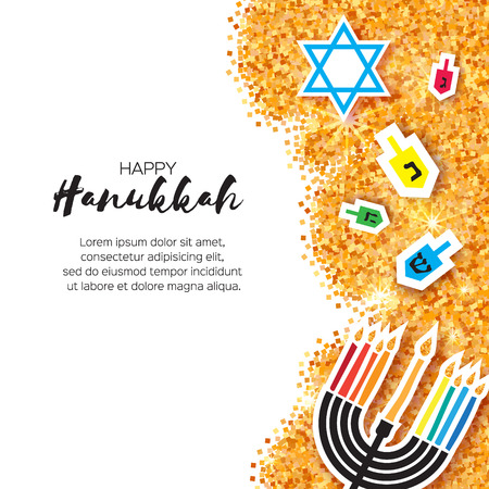 Colorful Origami Happy Hanukkah Greeting card on white background with space for text. Jewish holiday with menorah - traditional Candelabra,candles and dreidels - spinning top. Vector illustration Vettoriali
