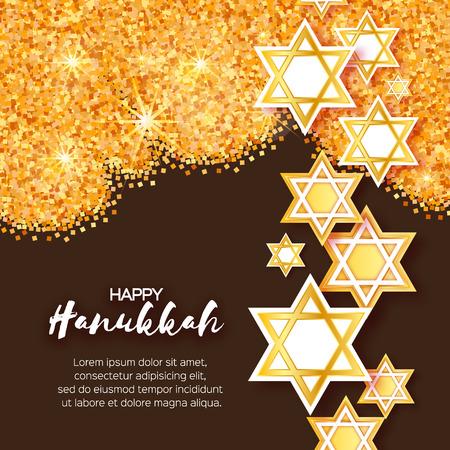 shalom: Magen David stars. Papercraft jewish holiday simbol on gold glitter background. Vector design illustration Illustration