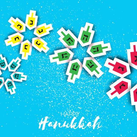 chanukkah: Happy hanukkah with dreidels - spinning top. Jewish holiday on blue background. Vector Illustration.