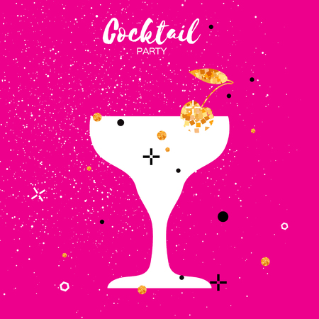 clinking: Cocktails in glass with golden glitter elements. Splashes,lemon and cherry on pink background.Cheers - Clinking glass silhouette. Cheerful holiday. Alcoholic beverages. Concept party celebration.