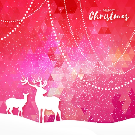 wintery: Merry Christmas Snow Winter landscape with deer cople. Seasonal Greeting card on polygonal space pink background with garland and text. Origami Happy New Year holiday. Vector paper art illustration