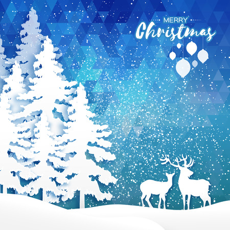Origami Merry Christmas Snow Winter forest, landscape with deer cople. Greeting card on space polygonal blue background with text, bauble. Happy New Year holiday. Vector paper art illustration Illustration