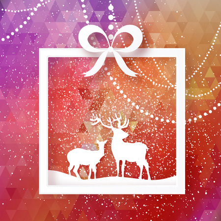 Origami Merry Christmas Snow Winter landscape with deer cople. Seasonal Greeting card on polygonal space red background with Gift box Happy New Year holiday. Vector paper art illustration
