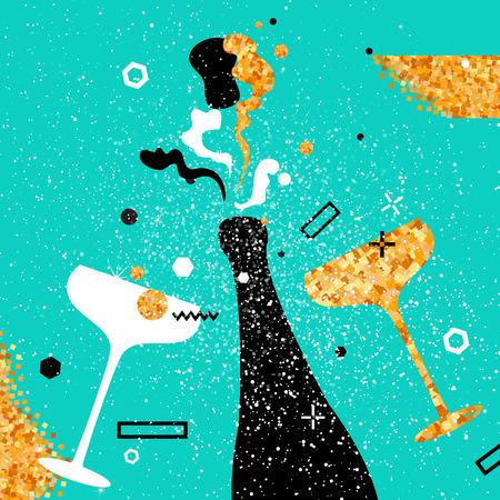Sektflöte - Jahrgang Paar und eine Flasche mit goldenen Glitzer-Elementen auf blauem Hintergrund. Beifall - klirrende Glas Silhouette. Fröhlich Urlaub. Alkoholische Getränke. Konzept Partei Feier. Vektorgrafik