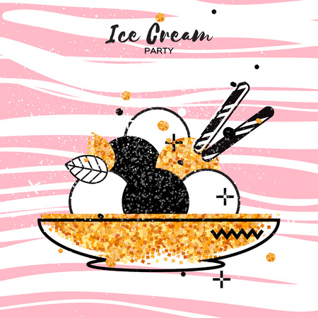 flavor: Sweet Ice Cream with different flavor. Gold Glitter Dessert party time. Six of tasty frozen dessert in a golden bowl with wafer straw on pink stripes background. Vector illustration. Illustration