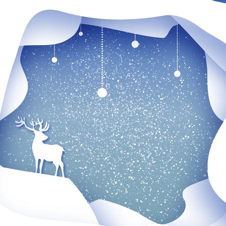 fiambres: Feliz Navidad paisaje de invierno de la nieve con los ciervos. tarjeta de felicitación en fondo azul con el marco de la cueva en capas. día de fiesta feliz Año Nuevo. Arte del vector de papel ilustración
