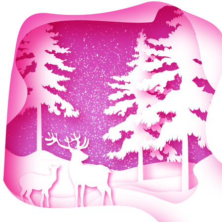 paper art: Origami Merry Christmas Snow Winter forest, landscape with deer couple. Greeting card on space polygonal pink background with layered cave frame.. Happy New Year holiday. Vector paper art illustration