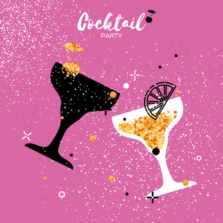 Cocktails in glass with golden glitter elements. Splashes,lemon and cherry on pink background.Cheers - Clinking glass silhouette. Cheerful holiday. Alcoholic beverages. Concept party celebration.