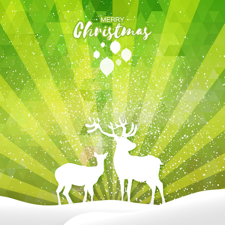 Merry Christmas Snow Winter landscape with deer couple. Seasonal Greeting card on polygonal space green lightning ray background. Origami Happy New Year holiday. Vector paper art style illustration
