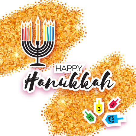 candelabra: Colorful Origami Happy Hanukkah Greeting card on white background with space for text. Jewish holiday with menorah - traditional Candelabra,candles and dreidels - spinning top. Vector illustration Illustration