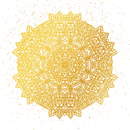 Golden foil Floral mandala. Gold Tribal ethnic henna ornament. Arabic,Indian,East,Islam,Thai decorative motifs. Round element for coloring book. Orient,symmetry Wedding lace,meditation symbol.