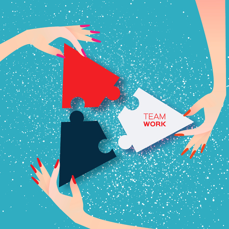 Beautiful women three hands together work. Group of business people assembling jigsaw puzzle, represent team support. Help concept. Business matching. Connecting puzzle elements. Vector illustration