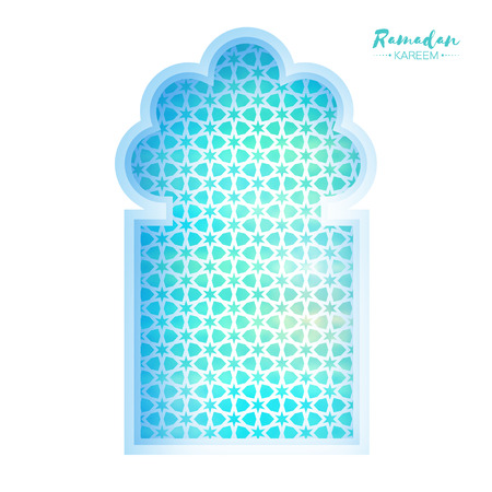 Blue Origami Mosque Window Ramadan Kareem Greeting card with arabic arabesque pattern. Holy month of muslim. Symbol of Islam. Paper craft Vector illustration. Illustration
