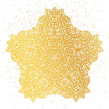 Golden foil Floral mandala. Gold ethnic henna ornament pattern. Illustration
