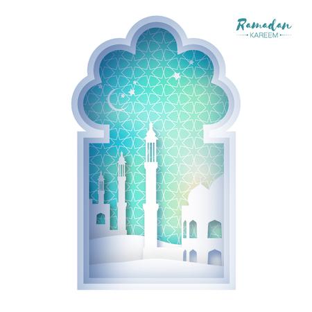清真寺窗户斋月卡里姆贺卡与阿拉伯阿拉伯式图案。