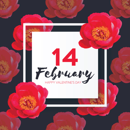 14 february: Showy Bouquet. Red Peony Flowers. 14 february. happy valentines day