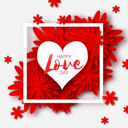 Heart frame. Red Flower paper. Happy Valentines day Illustration