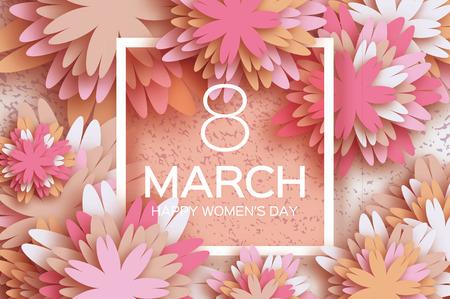 Pastell 8. März. Blumengrußkarte. Alles Gute zum Tag der Frauen. Papierschnittblumenfeiertagshintergrund mit quadratischem Feld, Raum für Text. Origami Trendy Design-Vorlage. Schönen Muttertag. Vektor-Illustration