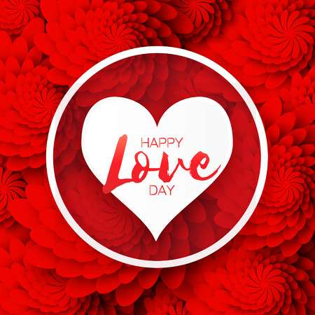Global Love romantic holiday. Happy Valentines Day Greeting card. Paper cut red flower and heart frame with space for text. Vector floral weeding design illustration. 14 february Illustration